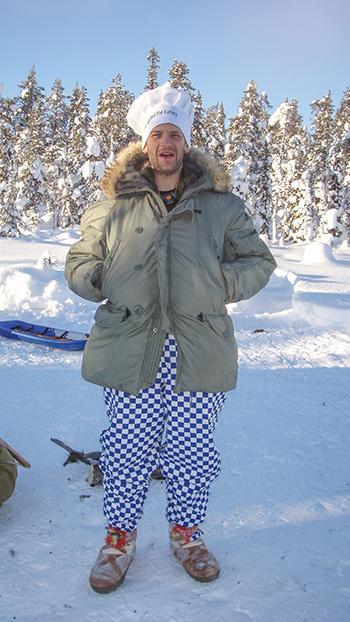 Man in chef costume in arctic